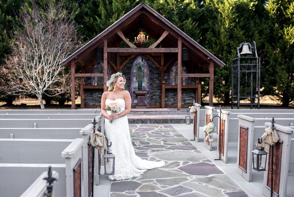 Bride in outside chapel