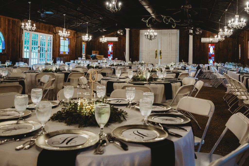 Place settings in a banquet hall